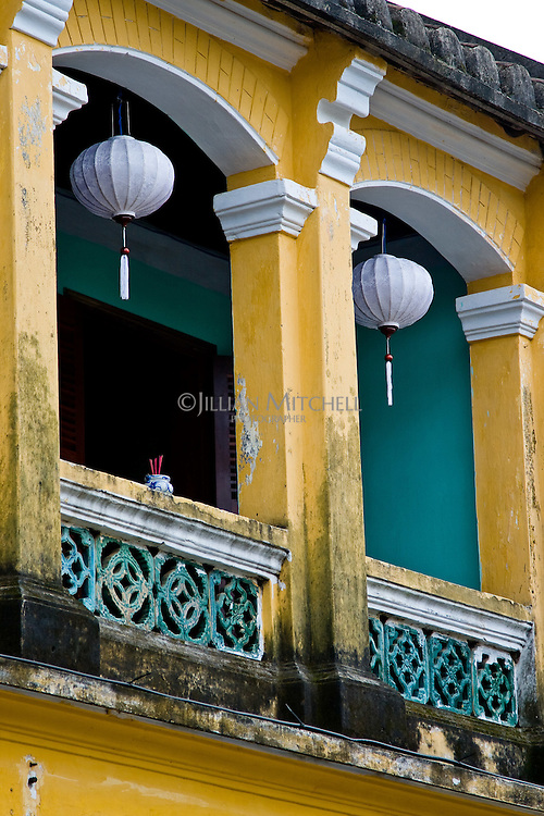 Beautiful old French colonial buildings in Hoi An, Vietnam.