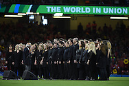 a Welsh choir sings ahead of k/o. Rugby World Cup 2015 pool A match, Wales v Uruguay at the Millennium Stadium in Cardiff, South Wales  on Sunday 20th September 2015.<br /> pic by  Andrew Orchard, Andrew Orchard sports photography.