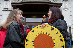 December 9, 2016 - Salem, Oregon, U.S - Plaintiff KELSEY JULIANA, right  greets University of Oregon Law School professor MARY WOOD outside  the Oregon Court of Appeals in Salem. Juliana filed suit against Oregon Gov. Kate Brown and the state of Oregon for violating her constitutional and public trust rights. The case is seeking a court order to compel the state to take science-based action to address the climate crisis and prevent catastrophic and irreversible impacts. Juliana is also a plaintiff in the landmark federal lawsuit suing the federal government over climate change. (Credit Image: © Robin Loznak via ZUMA Wire)