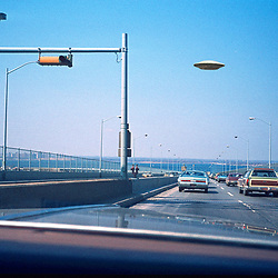 Vintage Image of Freeway UFO's - Flying Saucers Over Road and Traffic