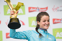 Lizzie Deignan (GBR) of Boels-Dolmans Cycling Team celebrates winning the Tour de Yorkshire - a 122.5 km road race, between Tadcaster and Harrogate on April 29, 2017, in Yorkshire, United Kingdom.