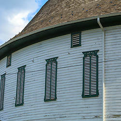 Ardentsville, PA, USA - March 23, 2012: Details of the distinctive Round Barn in Ardentsville is located west of Gettysburg in Adams County, PA.