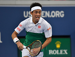 September 1, 2018 - Flushing Meadow, NY, U.S. - FLUSHING MEADOW, NY - SEPTEMBER 01: Kei Nishikori (JPN) in action during his third round match in the Men's Singles Championships at the US Open on September 1, 2018, at the Billie Jean King Tennis Center in Flushing Meadow, NY. (Photo by Cynthia Lum/Icon Sportswire) (Credit Image: © Cynthia Lum/Icon SMI via ZUMA Press)