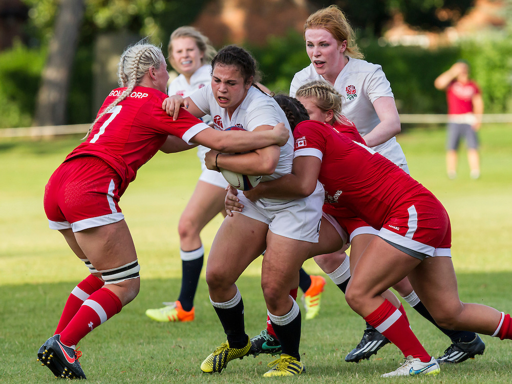 Katie Trevarthen in action, U20 England Women v U20 Canada Women at Trent College, Derby Road, Long Eaton, England, on 26th August 2016