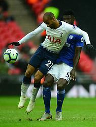 Lucas of Tottenham Hotspur battles for the ball with Bruno Ecuele Manga of Cardiff City - Mandatory by-line: Alex James/JMP - 06/10/2018 - FOOTBALL - Wembley Stadium - London, England - Tottenham Hotspur v Cardiff City - Premier League