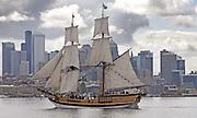 Washington's tall ship The Lady Washington sails through Lake Union in front of Seattle's skyline.  (Greg Gilbert / The Seattle Times, 2010)