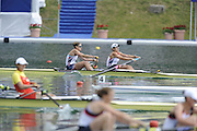 Bled, SLOVENIA,  top. USA W2- Bow.  Zsuzsanna FRANCIA and Erin CAFARO, during the semi final of the 1st FISA World Cup. Second day. Rowing Course. Lake Bled.  Saturday  29/05/2010  [Mandatory Credit Peter Spurrier/ Intersport Images]
