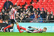 Elliot Whitehouse of Lincoln City (4) celebrates scoring a goal (1-0) during the EFL Trophy Final match between Lincoln City and Shrewsbury Town at Wembley Stadium, London, England on 8 April 2018. Picture by Stephen Wright.