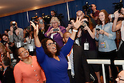 Oprah Winfrey attends the dedication of Dick Clark Studios and the Alan Gerry Center for Media Innovation at Syracuse University's Newhouse School, Monday, September 29, 2014, in Syracuse, NY.<br /> (Photo by Heather Ainsworth)