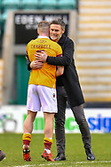 Motherwell FC manager Graham Alexander congratulates Allan Campbell (#6) of Motherwell FC after the final whistle of the SPFL Premiership match between Hibernian FC and Motherwell FC at Easter Road, Edinburgh, Scotland on 27 February 2021.