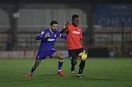 AFC Wimbledon defender George Francomb (7) and Brighton & Hove Albion winger Kazenga LuaLua (30) during the EFL Trophy match between AFC Wimbledon and U23 Brighton and Hove Albion at the Cherry Red Records Stadium, Kingston, England on 6 December 2016. Photo by Stuart Butcher.