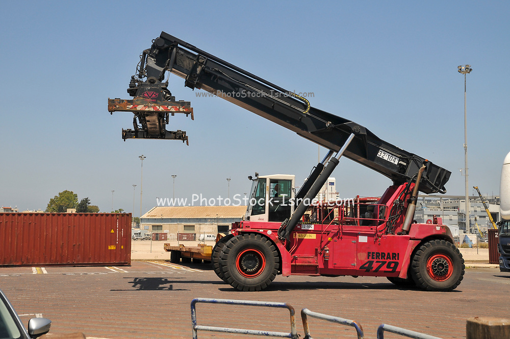 Container handling forklift. Port of Haifa, Israel
