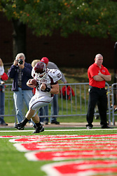 18 October 2008: Cody Kirby pumps his fist with excitement after making his way to the end zone for a touchdown in a game which the Missouri State Bears came from behind to beat the Illinois State Redbirds 34-28 in front of 13,292 fans at Hancock Stadium on Illinois State Universities campus in Normal Illinois