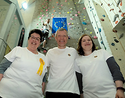 Scottish Liberal Democrat leader Willie Rennie and MEP candidates Sheila Ritchie and Vita Zaporozcenko launched the party's European election campaign manifesto.<br /> <br /> Willie Rennie states that a vote for the Liberal Democrats is a vote to stop Brexit, and he will set out a vision for our place in Europe to stop the devastation that Brexit will cause to our economy, public services and safety.<br /> <br /> Pictured: Willie Rennie MSP with Sheila Ritchie (left) and Vita Zaporozcenko as Alex Cole-Hamilton climbs the wall<br /> <br /> Alex Todd | Edinburgh Elite media