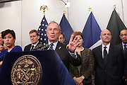 October 30, 2012- Brooklyn, NY: (L-R) New York City Mayor Michael Bloomberg, New York City Council Speaker Christine Quinn, FDNY Salvatore Cassano, New York City Schools Chancellor Derek Walcott, NYPD Commissioner Ray Kelly and New York Senator Chuck Schumer  update New Yorkers and the Nation of efforts and numbers on city response to Hurricane Sandy held at the Office of Emergency Management on October 30, 2012 in Downtown Brooklyn, NY. The Super Hurricane has ravaged parts of the New York City area where the storm has brought 23 serious fires to parts of Staten Island, Brooklyn, Queens as well as City Island and the Bronx, including the destruction of more than 80 houses in the Breezy Point section of the Rockaways. (Terrence Jennings/Polaris) .