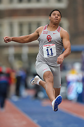 April 27, 2018 - Philadelphia, Pennsylvania, U.S - THOMAS CHEVAL (11) from the University of Oklahoma competes in the Long Jump Championships during the meet held in Franklin Field in Philadelphia, Pennsylvania. (Credit Image: © Amy Sanderson via ZUMA Wire)
