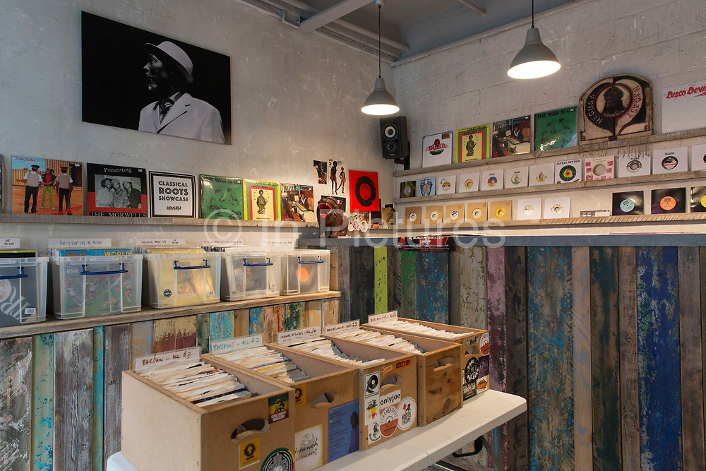 Reggae music Lion Vibes record shop in Brixton Village on the 11th April 2018 in South London in the United Kingdom.