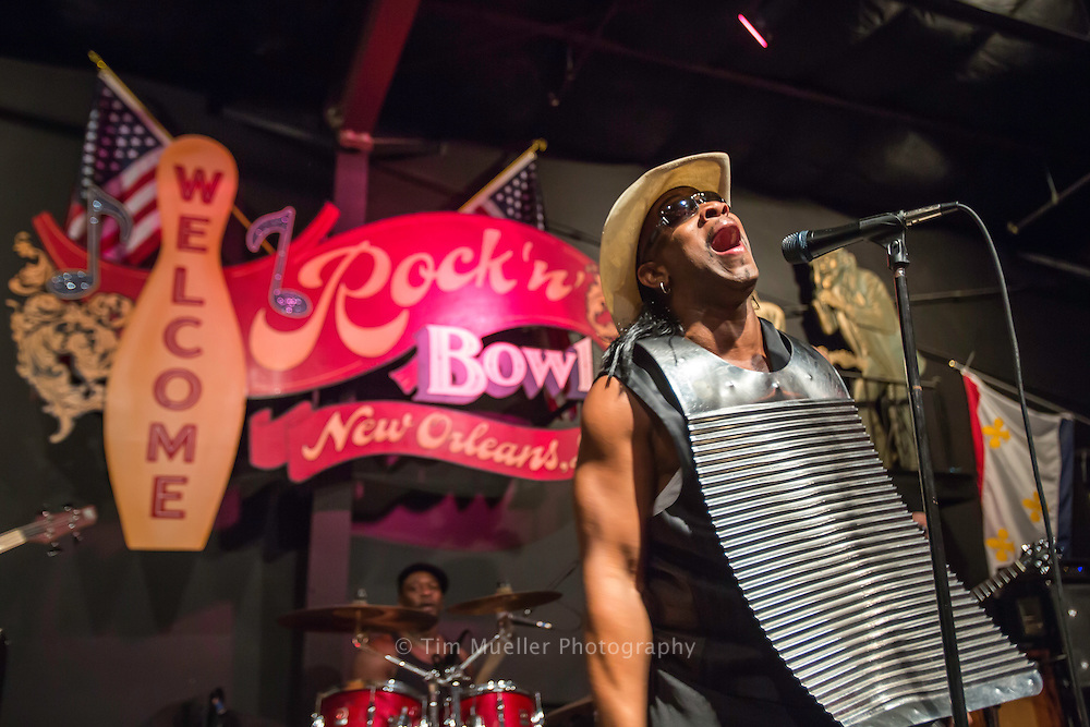 Rockin' Dopsie Jr. & the Zydeco Twisters perform at the Rock 'n' Bowl in New Orleans, La.