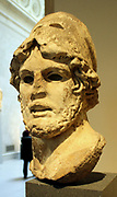 Marble head of a Greek General.  Roman, Imperial period, 1st-2nd century A.D.  Copy of a Greek bronze statue of the mid-4th century B.C.   This powerful portrayal of a man of action belongs to a type popular in Roman times.