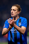 Gillingham FC forward Tom Eaves (9) applauds the fans after  the The FA Cup 3rd round match between Gillingham and Cardiff City at the MEMS Priestfield Stadium, Gillingham, England on 5 January 2019. Photo by Martin Cole.