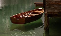THEMENBILD - ein Ruderboot am Bootshaus auf dem Pragser Wildsee, aufgenommen am 11. Mai 2018, Prags, Österreich // a rowing boat on the Pragser Wildsee on 2018/05/11, Prags, Austria. EXPA Pictures © 2018, PhotoCredit: EXPA/ Stefanie Oberhauser