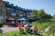 A street party on the Hainthorpe Estate in West Norwood on 19th May 2018 in South London in the United Kingdom. The 19th May 2018 saw Prince Harry and Meghan Markle get married at Windsor Castle.