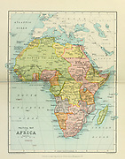 Political map of Africa From the Book '  Britain across the seas : Africa : a history and description of the British Empire in Africa ' by Johnston, Harry Hamilton, Sir, 1858-1927 Published in 1910 in London by National Society's Depository