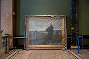an old painting wrapped up in plastic Kunsthalle Hamburg Germany