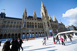THEMENBILD - Wiener Eistraum, Eislaufen am Rathausplatz in Wien, das Bild wurde am 25. Jaenner 2012 aufgebommen, im Bild Eislaeufer vor dem Wiener Rathaus, AUT, EXPA Pictures © 2012, PhotoCredit: EXPA/ M. Gruber
