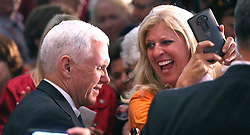 A supporter delights in meeting Republican vice presidential candidate Mike Pence during a rally Monday, Oct. 31, 2016 in Maitland, Fla., near Orlando. (Joe Burbank/Orlando Sentinel/TNS)