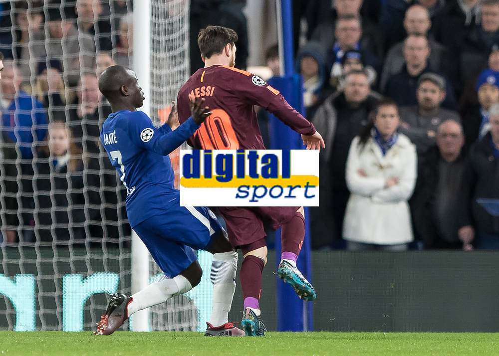 Football - 2017 / 2018 UEFA Champions League - Round of Sixteen, First Leg: Chelsea vs. Barcelona<br /> <br /> Ngolo Kante (Chelsea FC)  tries to force Lionel Messi (Barcelona) wide as he attacks the Chelsea goal at Stamford Bridge.<br /> <br /> COLORSPORT/DANIEL BEARHAM