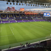 ORLANDO, FL - JANUARY 22:  The playing field is seen prior to a soccer match between Colombia and United States women's teams at Exploria Stadium on January 22, 2021 in Orlando, Florida. (Photo by Alex Menendez/Getty Images) *** Local Caption *** Alyssa Naeher #1 of United States Womens Soccer team