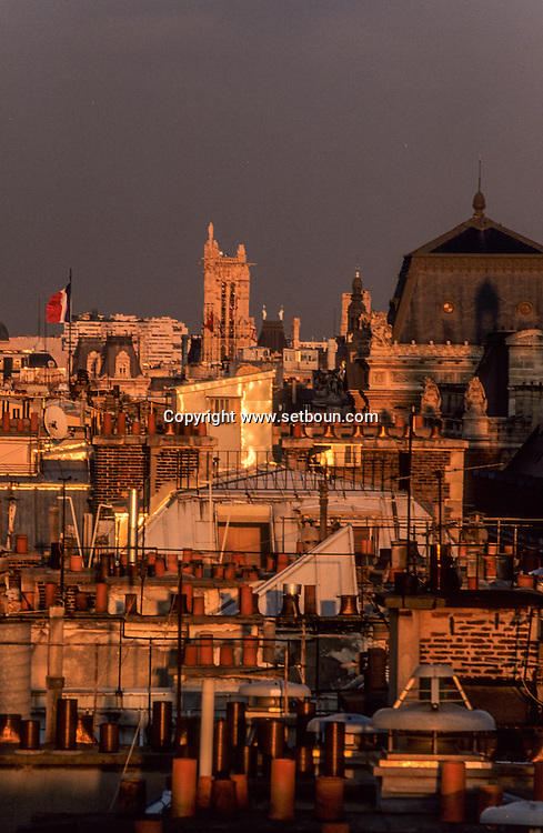 France. Paris. elevated view. Paris, rooftops and saint Jacques tower,  view from  the hotel Meurice
