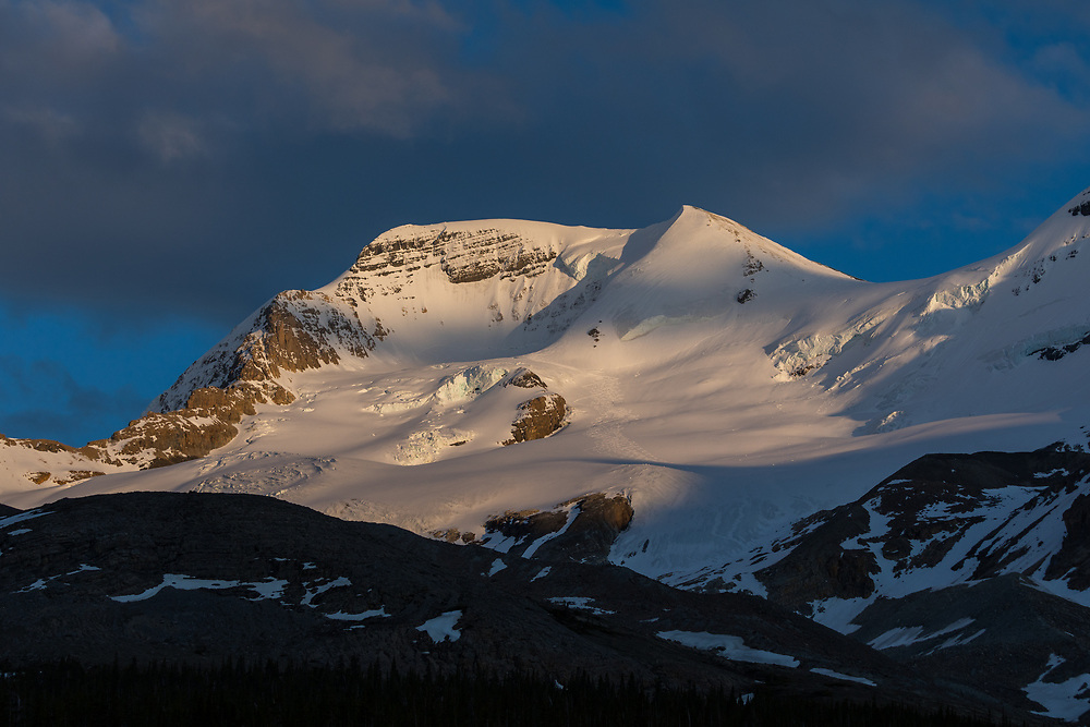 The north face of Mt Athabasca in the Columbia Icefields area of Jasper National Park, Alberta, Canada at sunset