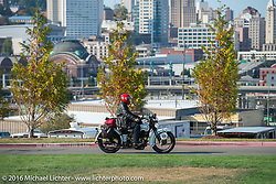 Stage 16 (142 miles) of the Motorcycle Cannonball Cross-Country Endurance Run, which on this day ran from Yakima to Tacoma, WA, USA. Sunday, September 21, 2014.  Photography ©2014 Michael Lichter.