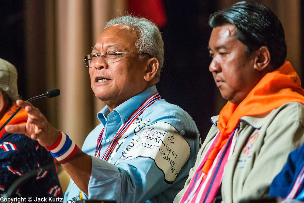 18 MAY 2014 - BANGKOK, THAILAND: SUTHEP THAUGSUBAN addresses representatives of state enterprises during a meeting he called at Government House in Bangkok. Suthep called representatives state enterprises to a meeting at his office in Government House, normally the office of the Prime Minister, to make assignments for the coming week. Suthep has pledged to overthrow the government of interim caretaker Prime Minister Niwatthamrong Boonsongphaisan, a member of former Prime Minister Yingluck Shinawatra's inner circle. Niwatthamrong became PM after the courts ousted Yingluck. Suthep has pledged to remove the Shinawatra family from Thai politics by May 27 or he will turn himself into police to face prosecution.      PHOTO BY JACK KURTZ