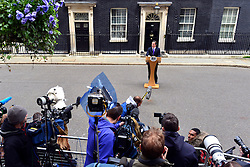 © Licensed to London News Pictures. 23/05/2013. London, UK David Cameron, Conservative MP, British Prime Minister makes a statement after a meeting of COBRA (Cabinet Office Briefing Room A) to discuss yesterday's alleged terrorist attack in Woolwich. Photo credit : Stephen Simpson/LNP