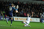 Swansea city's Michu scores his sides 1st goal.UEFA Europa league match, Swansea city v FC Kuban Krasnodar at the Liberty Stadium in Swansea, South Wales on Thursday 24th October 2013. pic by Andrew Orchard, Andrew Orchard sports photography,