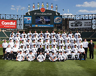 CHICAGO - September 14:  The 2007 Chicago White Sox pose for their team photo at U.S. Cellular Field in Chicago, Illinois on September 14, 2007.<br /> <br /> FIRST ROW: Batboys,SECOND ROW: Assistant Trainer Brian Ball,Head Trainer Herm Schneider,Third Base Coach Razor Shines,Bench Coach Joey Cora,Hitting Coach Greg Walker,General Manager Ken Williams,Manager Ozzie Guillen,Pitching Coach Don Cooper,First Base Coach Harold Baines,Bullpen Coach Art Kusnyer,Bullpen Catcher Mark Salas,Director of Conditioning Allen Thomas THIRD ROW: Visiting Clubhouse Manager Gabe Morell,Assistant White Sox Clubhouse Manager Rob Warren,White Sox Clubhouse Manager Vince Fresso,Scouting Analyst Mike Gellinger,Donny Lucy,Ehren Wassermann,Darin Erstad,Josh Fields,Heath Phillips,Pablo Ozuna,Batting Practice Pitcher Kevin Hickey,Coach Omer Munoz,Assistant White Sox Clubhouse Manager Joe McNamara Jr., Clubhouse Attendant Tim Colletti, Director of Team Travel Ed Cassin  FOURTH ROW: Jerry Owens,Mike Myers,Juan Uribe,Scott Podsednik,Paul Konerko,Jim Thome,Mark Buehrle,John Danks,Toby Hall,Ryan Bukvich,Javier Vazquez,Danny Richar FIFTH ROW: Alex Cintron,Mike MacDougal,A.J. Pierzynski,Boone Logan,Matt Thornton,Jon Garland,Bobby Jenks,Gavin Floyd,Luis Terrero,Lance Broadway,Andy Gonzalez,Jermaine Dye Not Pictured:,Joe Crede (Disabled List),Jose Contreras