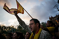 A man with is raised fist during the pro Catalan Idipendentia rally. Left wing were the most disapointed after the president Carles Puigdemont had delivered his speach