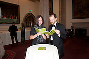 HELEN ENGLISH; TONY ENGLISH, Man Booker prize 2011. Guildhall. London. 18 October 2011. <br /> <br />  , -DO NOT ARCHIVE-© Copyright Photograph by Dafydd Jones. 248 Clapham Rd. London SW9 0PZ. Tel 0207 820 0771. www.dafjones.com.
