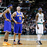24 January 2013: New York Knicks shooting guard James White (4) and New York Knicks point guard Jason Kidd (5) rests next to Boston Celtics shooting guard Jason Terry (4) during the New York Knicks 89-86 victory over the  at the TD Garden, Boston, Massachusetts, USA.