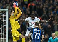 Football - 2018 / 2019 UEFA Champions League - Group B: Tottenham Hotspur vs. Inter Milan<br /> <br /> Moussa Sissoko (Tottenham FC)  challenges Samir Handanovic (Inter Milan) for the high ball at Wembley Stadium.<br /> <br /> COLORSPORT/DANIEL BEARHAM