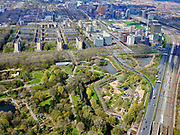 Nederland, Noord-Holland, Amsterdam; 16-04-2021; Zicht op Amstelpark en Buitenveldert. Rechts de Zuidas en Ring A10.<br /> View of Amstelpark and Buitenveldert. On the right the Zuidas and Ring A10.<br /> luchtfoto (toeslag op standard tarieven);<br /> aerial photo (additional fee required)<br /> copyright © 2021 foto/photo Siebe Swart