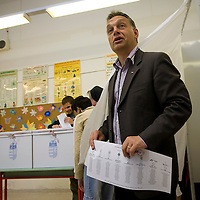 Opposition leader Viktor Orban votes during the European Parliamentary elections in Budapest, Hungary. Sunday, 07. June 2009. ATTILA VOLGYI