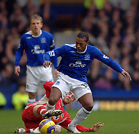 Photo: Paul Greenwood.<br />Everton v Blackburn Rovers. The Barclays Premiership. 10/02/2007. Everton's new signing Manuel Fernandes, right, beats David Bentley to the ball