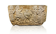 Hittite monumental relief sculpted orthostat stone panel from Water Gate Limestone, Karkamıs, (Kargamıs), Carchemish (Karkemish), 900-700 BC.  Anatolian Civilisations Museum, Ankara, Turkey.<br /> <br /> The figure sitting on a stool to the left of the table holds a goblet in his right hand which he raised upwards. Behind, there is a servant with a fan in his hand. On the other side of the table is another servant waits with a vessel in the hands. The rightmost figure plays a Saz (a stringed musical instrument) with the tassel on the handle. <br /> <br /> On a white background. .<br />  <br /> If you prefer to buy from our ALAMY STOCK LIBRARY page at https://www.alamy.com/portfolio/paul-williams-funkystock - Scroll down and type - Hittite art Carchemish - into LOWER search box. (TIP - Refine search by adding  or background colour as well).<br /> <br /> Visit our HITTITE PHOTO COLLECTIONS for more photos to download or buy as wall art prints https://funkystock.photoshelter.com/gallery-collection/The-Hittites-Art-Artefacts-Antiquities-Historic-Sites-Pictures-Images-of/C0000NUBSMhSc3Oo