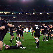 Richard Kahui, (left) and Stephen Donald embrace as New Zealand players celebrate as the final whistle sounds giving New Zealand an 8-7 victory over France in the Final of the IRB Rugby World Cup tournament, Eden Park, Auckland, New Zealand. 23rd October 2011. Photo Tim Clayton...