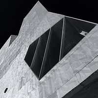 """""""Walk Art Center"""" 2 mono<br /> <br /> A black and white fine art image of The Walker Art Center in Minneapolis MN. <br /> <br /> Cities and Skyscrapers by Rachel Cohen"""