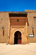 Arabesque entrance of the  Alaouite Ksar Fida built by Moulay Ismaïl the second ruler of the Moroccan Alaouite dynasty ( reigned 1672–1727 ). Residence of the Khalifa or Caid of Tafilalet until 1965. Tafilalet Oasis, near Rissini, Morocco .<br /> <br /> Visit our MOROCCO HISTORIC PLAXES PHOTO COLLECTIONS for more   photos  to download or buy as prints https://funkystock.photoshelter.com/gallery-collection/Morocco-Pictures-Photos-and-Images/C0000ds6t1_cvhPo<br /> .<br /> <br /> Visit our ISLAMIC HISTORICAL PLACES PHOTO COLLECTIONS for more photos to download or buy as wall art prints https://funkystock.photoshelter.com/gallery-collection/Islam-Islamic-Historic-Places-Architecture-Pictures-Images-of/C0000n7SGOHt9XWI